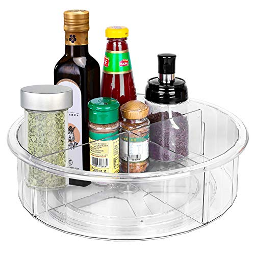 Lazy Susan, lazy susan spice rack organizer for cabinet, Organization for Pantry, Countertop, Shelf, Table, Vanity, Bathroom, 11.8 Inches, Clear…