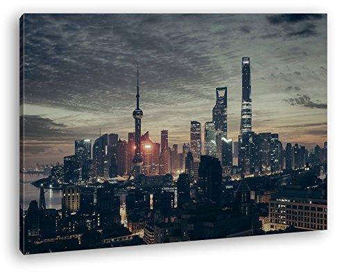 deyoli einnehmende Skyline Format: 100x70 als Leinwandbild, Motiv fertig gerahmt auf Echtholzrahmen, Hochwertiger Digitaldruck mit Rahmen, Kein Poster oder Plakat