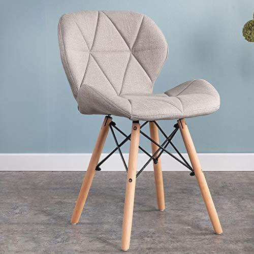 QZYQ Silla Comedor Nordic Dining Chair Silla de Dormitorio Upholstered Dining Chair, upholstered Seat, Ergonomic backrest Solid Beech Wood Legs butacas sillas Salon (Color : White, Size : Fabric)