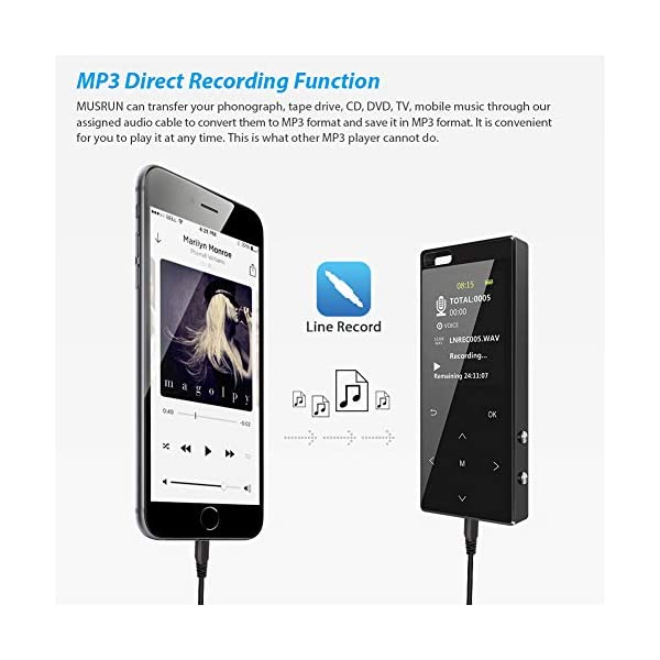 MP3 Player, 16GB MP3 Player with Bluetooth 4.2, MP3 Direct Recording, Hi-Fi Lossless Sound Music Player with FM Radio/Voice Recorder, Pedometer, Support up to 128gb TF Card, Black 5