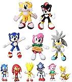 XINFA Traje de Felpa Sonic 11 unids/Set Sonic Soft Doll Blue Sonic Cartoon Animal Stuffed Peluche Peluches Figura Muñecas Regalo Navidad niños