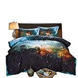 A Nice Night Black and Blue Galaxy Bedding Sets 3D Printed Cloud Quilt...