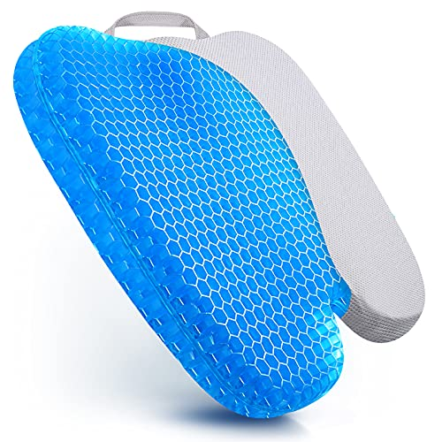 Gel Seat Cushion for Office Chairs, Ergonomic Gel Butt Pillow with Non-Slip Cover, Double Design Diamond Honeycomb Egg Seat Cushion for Wheelchair Desk Car Long Trips, for Back Tailbone Pain Relief