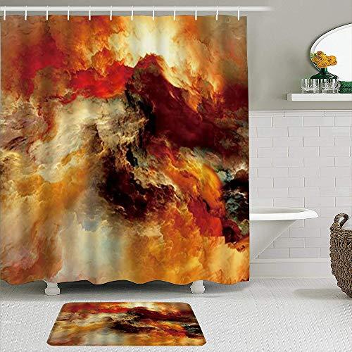 VINISATH 2-teiliges duschvorhang-Set mit rutschfeste teppichen,Granit Marmor gemischte Textur verschwommen Nebel Nebel Grunge Splash Art Malerei,Durable wasserdichte Polyester Badvorhänge Matte
