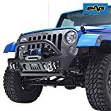 EAG JJKFB003 Front Bumper Stubby with Fog Light Hole and Winch Plate for 07-18 Jeep Wrangler JK Offroad