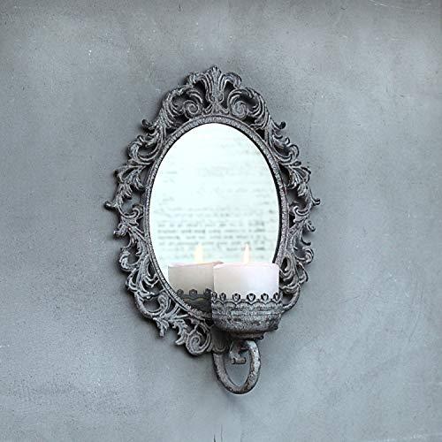 Dekocharme Vintage Wand Kerzenhalter mit Spiegel Shabby Grau Landhaus