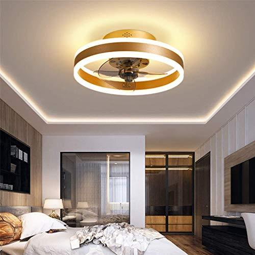Deckenventilator mit Ventilator, leiser Deckenventilator mit Beleuchtung und Fernbedienung Ultradünne 16,5-cm-Deckenleuchten 24-W-dimmbare Ventilator-Pendelleuchte, Gold