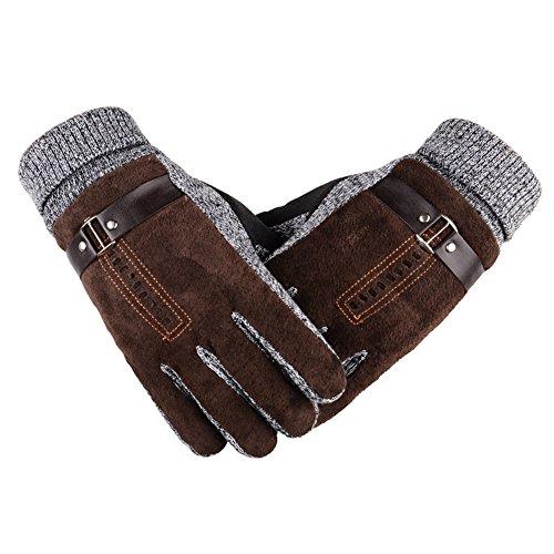 Herren Handschuhe Winter Warm Winddicht Thermal Handschuh Abriebfest Outdoor Sport Handschuh (braun)