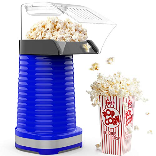 Hot Air Popcorn Popper, 1200W Electric Popcorn Maker, Household Popcorn Machine for Healthy Snacks, No Oil Needed, High Efficiency, DIY Your Own Taste, Great for Family Parties and Movies Night, Blue