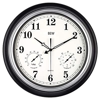 Large Outdoor Clock, 18 Inch Waterproof Silent Wall Clock with Thermometer and Hygrometer Combo, Weather Resistant, Modern Home Decorative Clock for Garden/Patio/Pool/Lanai/Fence (Metal, Black-Silver)