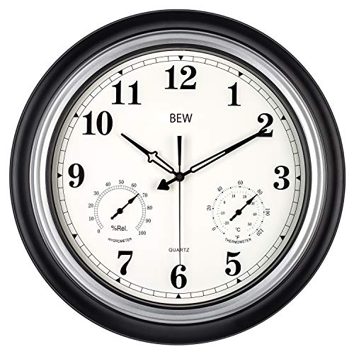 Large Outdoor Clock, 18 Inch Waterproof Silent Wall Clock with Thermometer and Hygrometer Combo,...