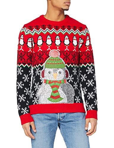 OFF THE RACK Womens Unisex Damen Lustig Pullover für Weihnachten Strickpullis für Weihnachtsparty Sweater, Glitter Penguin Parade, M