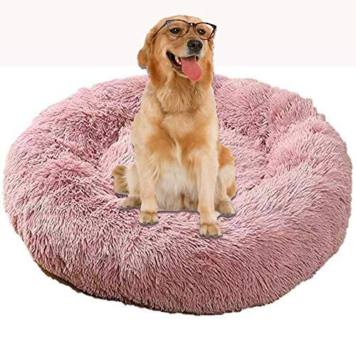 SKLLA Jumbo Orthopedic Calming Older Dog Bed Sofa Cushion Round Donut Anti Anxiety Wicker Plush Cave XXL Washable Extra Large Medium Mattress Comfort Plush Fluffy dark grey ZZAY