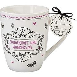 Sheepworld 59261 Lieblingstasse Zauberhaft und wundervoll, Porzellan-Tasse, mit Geschenk-Anhänger
