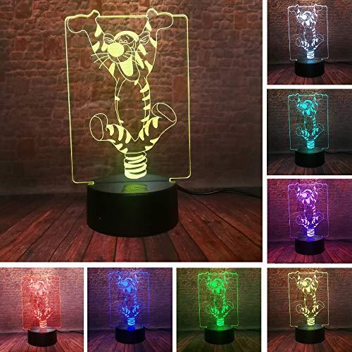 Cartoon Hoo Hoo Bouncing Tigger IR Hologramm Freund Spielzeug 3D LED Nachtlicht USB Tischlampe...