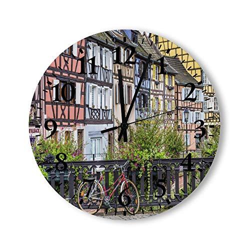 DKISEE Reloj de pared redondo de madera para dormitorio, sala de estar o casa, de Colmar France