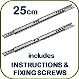 Metal drawer runners - 25cm x 1.7cm wide - (per pair) - includes instructions and screws - Replaces most MFI, Ikea Argos etc. by Home Fittings