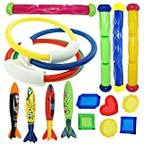 JOYIN Underwater Swimming/Diving Pool Toy Rings (4 pcs) , Diving Sticks (4 pcs) and toypedo bandits(4 pcs) with Under Water Treasures Gift Set Bundle