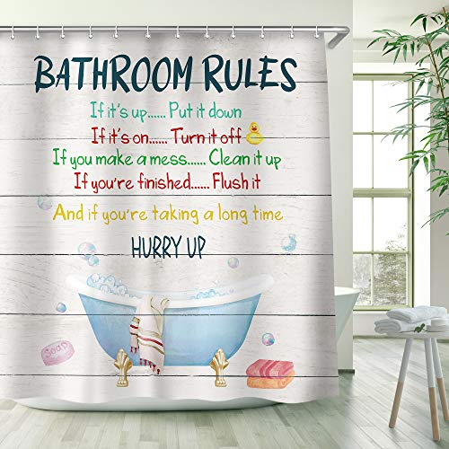 RosieLily Kids Shower Curtain, Girls Shower Curtain, Boys Shower Curtain, Funny Words Teen Motivationa Shower Curtains, 72W x 72H inch Extra Long Wide Shower Curtain with Hooks Kids Bathroom Decor