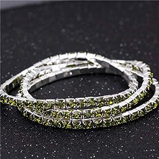 BAOKUANH Bracelet Elastic crystal bracelet Hip hop Men Bracelet colorful Iced Out 1 Row Rhinestones Chain Bling Crystal Br...