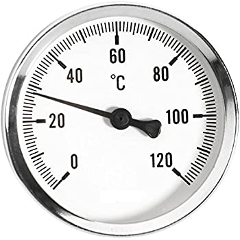 Pegcdu Wasserdichtes 0-120 /° C Aluminium-Warmwasserrohr Thermometer Heizung Dial Templehre