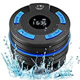 Shower Radio Bluetooth Shower Speaker Waterproof Wireless Speaker Portable Radio with Clock Suction Cup FM Radio LCD Display 10 Hours, Indoor and Outdoor