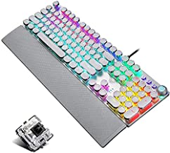 Retro Steampunk Gaming Mechanical Keyboard, Metal Panel, Black Switches, LED Backlit,USB Wired,Hand Rest,Typewriter-Style Round Keycaps,for Game and Office,for Computer Laptop Desktop PC(2088-White)