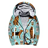 Women Hoodie Long Sleeve Full Zip Sherpa Jackets Bloodhound Fabric Dogs And Coffees Thick Fleece Coat with Pockets, Winter Workout Pullover Wool Warm Hooded Sweatshirt, Plus Size XL