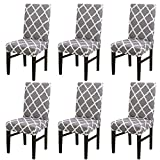 NURB Stretch Dining Chair cover 6pcs Spandex Dining Chair Covers Removable Washable Universal Protector Cover Seat Slipcover for Hotel Dining Room Ceremony Banquet Party (Grey Grid)
