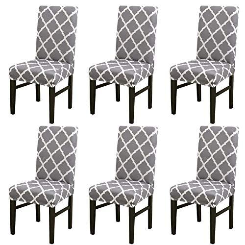 AFFASFSAFS Universal Stretch Dining Chair Schonbezug Set Elastic Seat Protector Stuhllehne mit hoher Rückenlehne für die Küche Wohnzimmer Restaurant-Navy-6 PCS