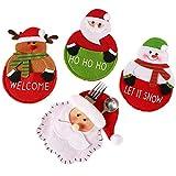 Generic Brands Fundas Decorativas para Cubiertos con diseño navideño 4piezas Navidad decoración de la Mesa Navidad Cubiertos Bolsillos Soporte Bolsita para Cubiertos navideños para Navidad