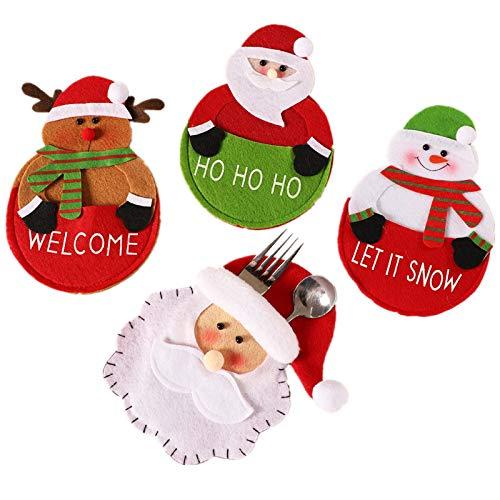 Generic Brands Portaposate Natale 4pz bustine per Posate di Natale Supporti per Posate Natale Posate Titolare Forchetta Cucchiaio Tasca Natale Arredamento Borsa per Decorazioni da tavola di Natale