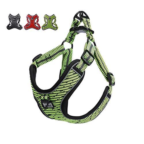 Suredoo Arnés Perro Reflectante Ajustable, Arnés Antitirones Suave Acolchado Cómodo Transpirable Arnés Chaleco para Cachorros Perros Pequeños Mediano (S, Verde)