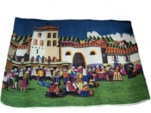 Perú peruano Alpacaandmore tejido a mano alfombra tejida diseño de juego de alfombra de fiesta 120 x 100 cm