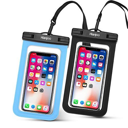 2 Piezas Funda Móvil Impermeable Estuche IPX8 para Teléfono de 6,5 Pulgadas, Bolso Seco Bajo el Agua con Cordón Comaptible con iPhone 11 Pro XS X 8 7 6 Compatible con Redmi Note 9s 9 8 [Negro + Azul]