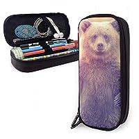 手を振っているクマ PU筆箱筆箱 大容量 ジッパーポーチ 文房具バッグ おしゃれ 多機能ケース 男女兼用