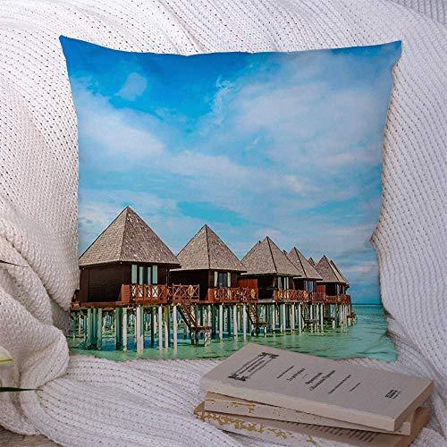 N\A Dekorative Kissenbezüge für Schlafsofa Couch Resort Erstaunlicher Holzbungalow im Paradies Türkis Wasserparks Luxus Azure Bali Bay Beach Bora Weiche Kissenbezug