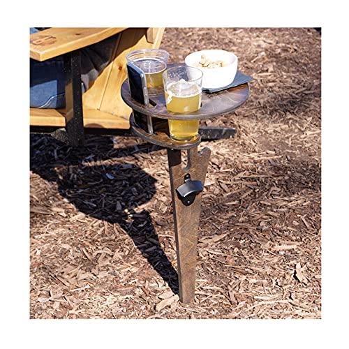 RCinkyko Klapptisch für den Außenbereich, tragbar, aus Holz, Picknick-Tisch, Mini-Klapptisch, Weintisch für Garten, Outdoor, Camping, Picknick, Strand (Braun)