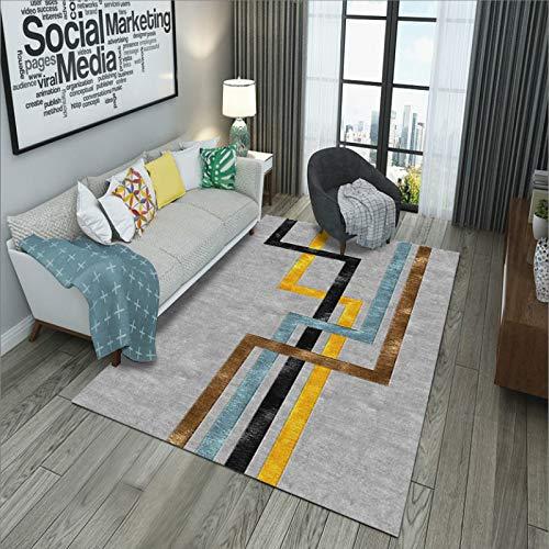 GBFR Alfombra grande para sala de estar, abstracción, alfombra de mostaza, tradicional, sala de estar, dormitorio, estudio, exterior, comedor, baño, líneas de color morado claro, 80 x 120 cm
