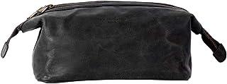 HOLZRICHTER Berlin handgefertigter Leder Kulturbeutel M. Große, hochwertige Kulturtasche aus Leder in schwarz