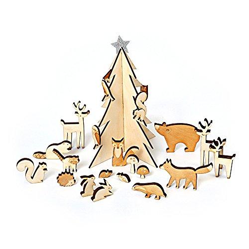Calendrier de l'Avent Bois hivernal – Avec petits animaux et sapin étoilé en bois peint Produit Meri Meri