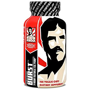 Vintage Burst Nitric Oxide Booster - The Natural 3-Hour L-Arginine Pump Supplement - Enhanced Blood Flow for Massive Pumps & Vascularity - Higher Intensity Workouts & Less Fatigue - 120 Veggie Caps