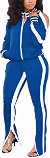 Mintsnow Women Sweatsuits Sets 2 Piece Outfits Stripe Print Cold Shoulder Sweatshirt Jacket + Slit Flare Pants Tracksuit