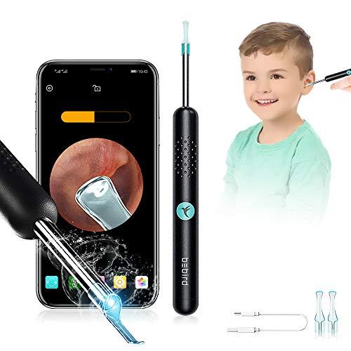 BEBIRD R1 Otoskop-Ohrreiniger Mensch, Endoskop-Ohrenschmalz-Entfernungswerkzeug mit LED-Licht & 1080P FHD-Kamera, Safe Ear Pick Kit für iPhone, iPad & Android-Smartphones (Schwarz)