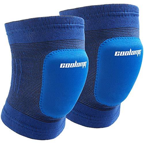 COOLOMG Kinder Knieschoner Knieschützer gepolstert Sport Fitness Jogging Blau