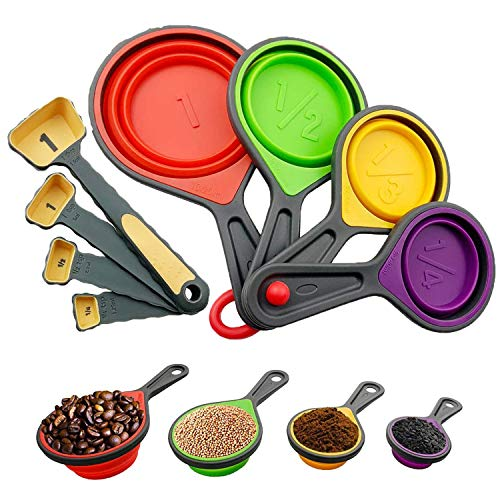 WENTS Messbecher und Löffel Silikon 8 Set 4 Measuring Cups 4 Messlöffel mit Silikon Griff und Meßlineal Multifunktions für Küche Kochen Backen