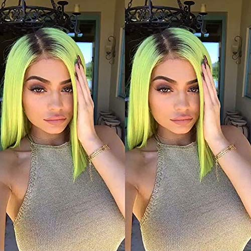Ombre Short Bob Wig Neon Green Lace Front Wigs for Women Synthetic Fluorescent Yellow Lace Wig with Dark Hair Roots Summer Cosplay Drag Queen Shoulder Length Straight Hair Wig
