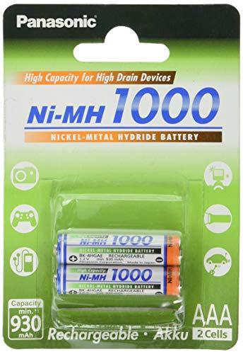 Panasonic High Capacity, Akku Ni-MH 1000, AAA Micro, 2er Pack, min. 930 mAh, Hochkapazitäts-Akku mit extrastarker Leistung