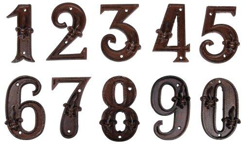 Esschert Design Set: Hausnummer 50 mit Lilien Muster aus Gusseisen in antikbraun, patiniert, auch als Zimmernummer geeignet (ca. 12 cm x 8,3 cm)