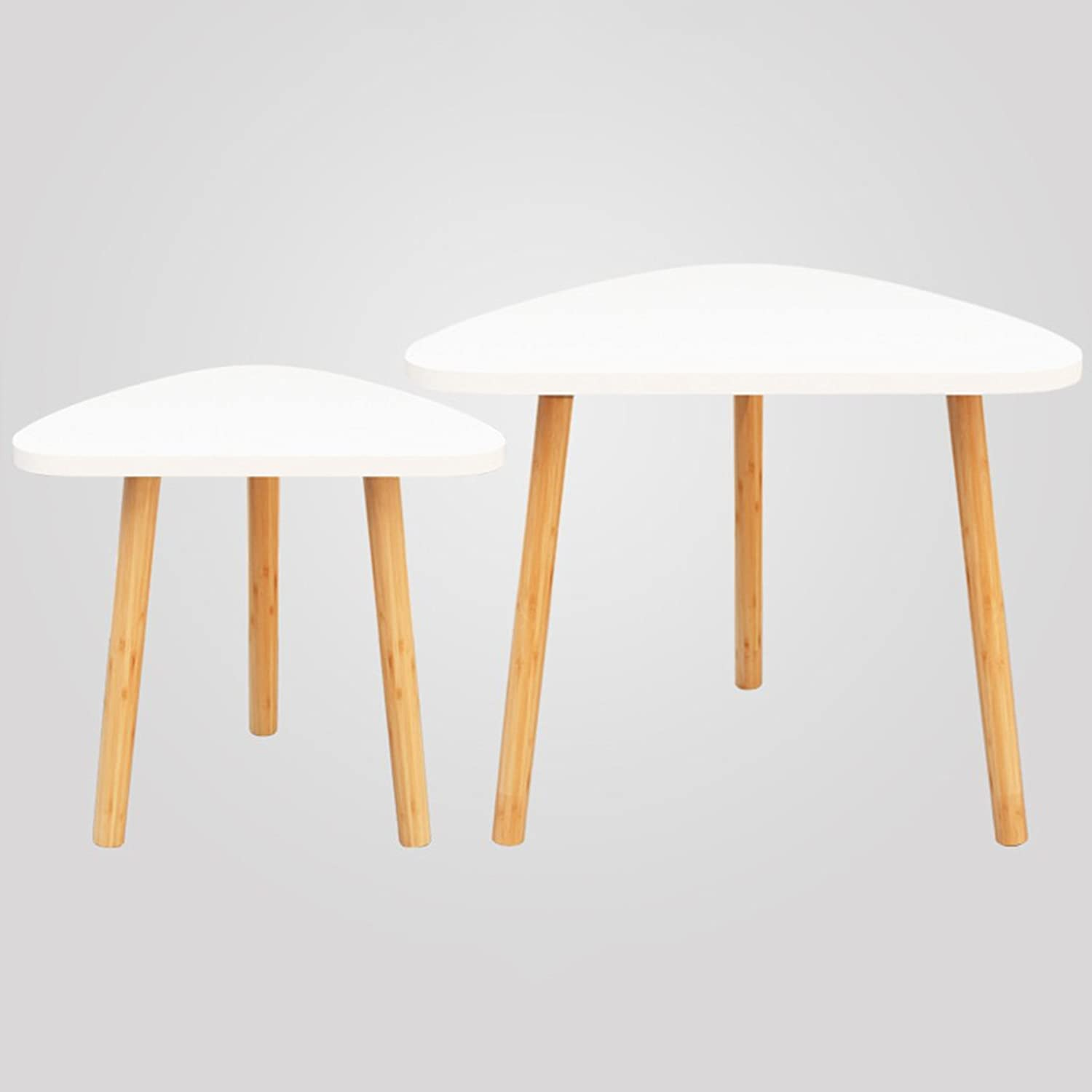 Two Pieces of Nanzhu Leg Sofa Side of The Modern Minimalist Geometric Low Table Triangular Coffee Table (color   White)